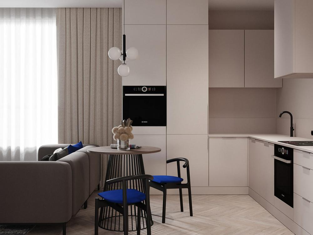 Малка кухня със синьо присъствие