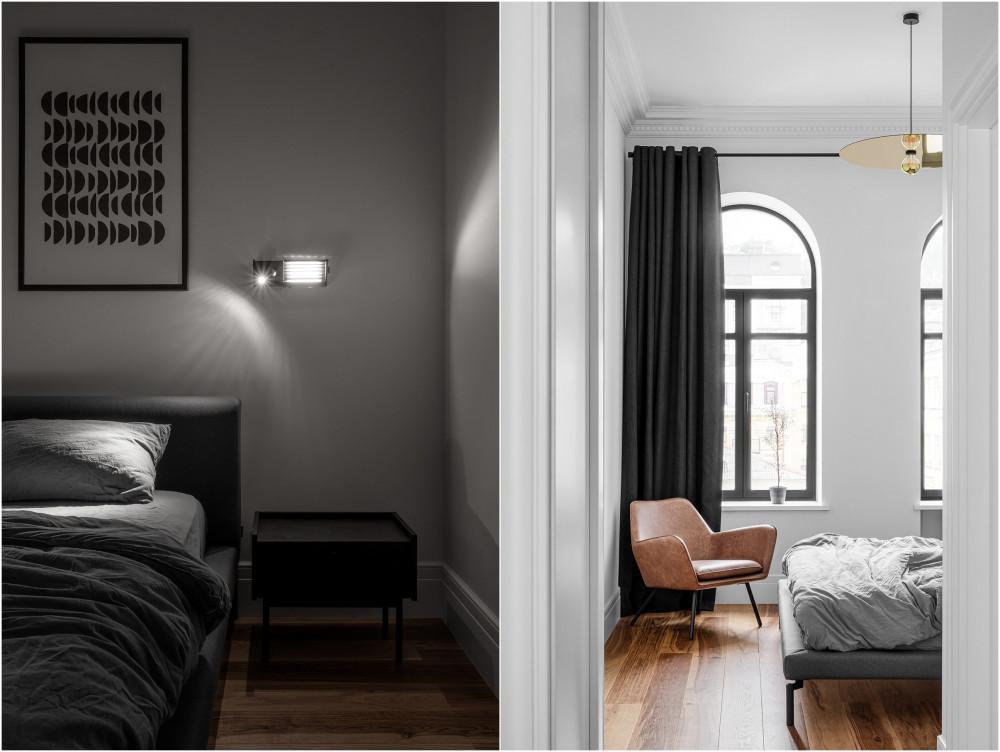 Бяло, златно и черно в спалнята