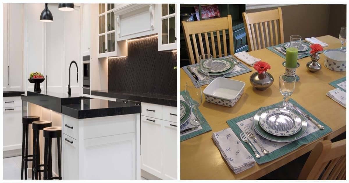 Дръжките на уредите и шкафовете в кухнята и подложките за хранене