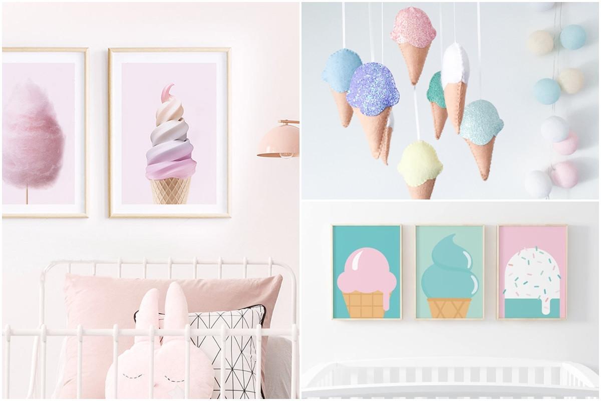 Цветна сладоледена детска стая