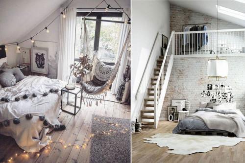 Оригинални решения за спалня в мансардата