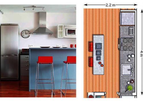 Продълговата кухня в съседство с хола