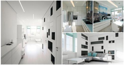 Модерен бял апартамент с елегантно излъчване в Москва