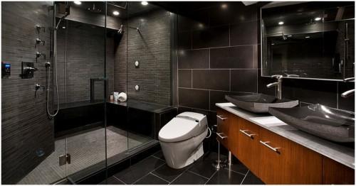 5 начина да внесете тъмни цветове в банята си