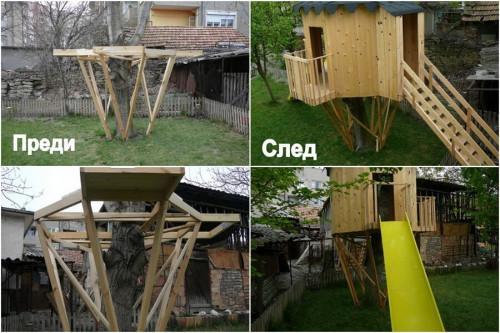Реализиран български проект на детска къщичка на дърво