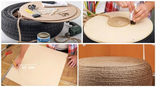 Превърнете старата си гума в ефектен дизайнерски пуф