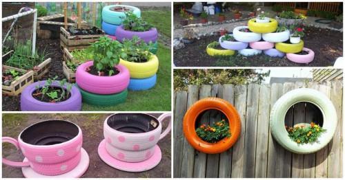 Превърнете старите гуми в уникални цветарници за градината