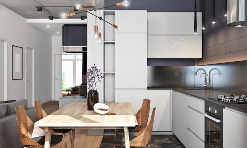 Апартамент в сивата гама с подчертано мъжки характер