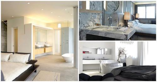 Съвременно интериорно решение: баня и спалня в едно