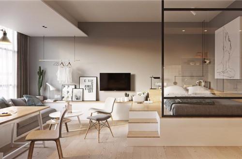 Добре оползотвореното пространство в едностайния апартамент