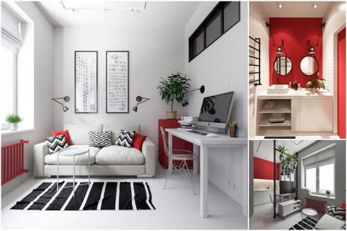 Минималистичен стил и индустриални елементи в стилния апартамент от 30 кв. м.