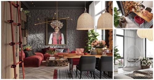 Уютна обстановка и впечатляващ дизайн в модерен рустик апартамент