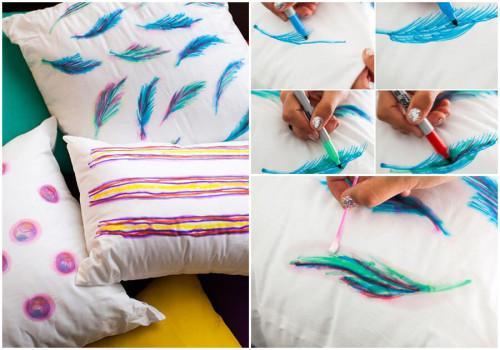 Надраскайте възглавничките с цветни маркери