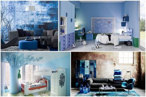 Заложете на синьото за интериорните решения за дома