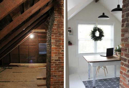 Преди и след: Старият таван се превръща в симпатичен работен кабинет