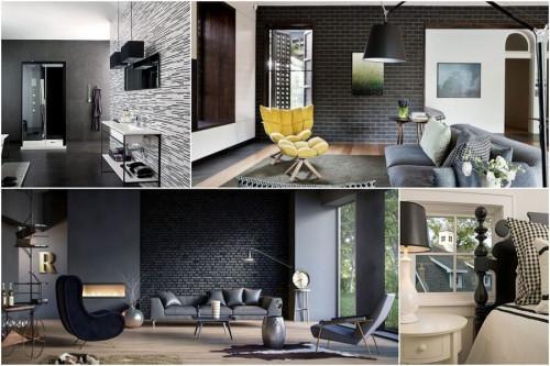 Драматична атмосфера в дома с черна тухлена стена