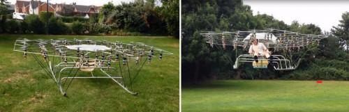 Ентусиаст полетя на дрон, направен от чадър и градински стол