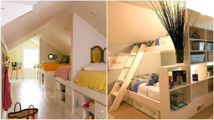 И таванската стая събира три легла