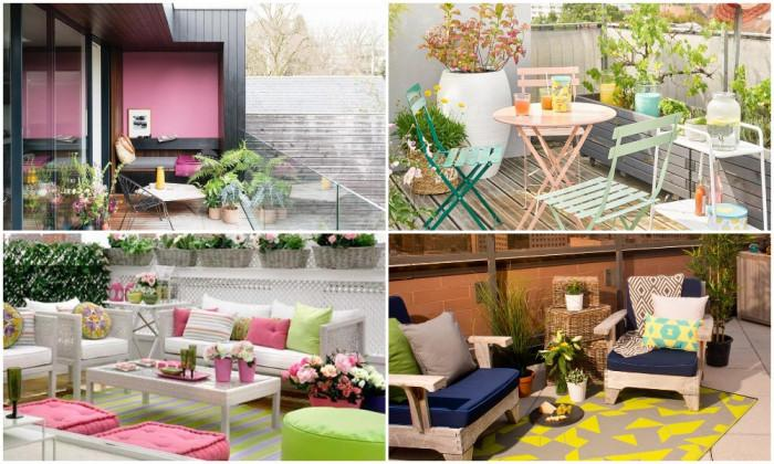 Вмъкнете пъстри цветове в дизайна на терасата