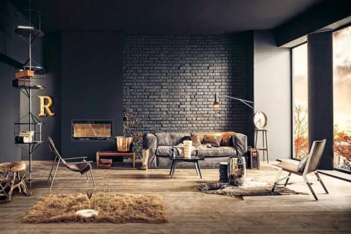 Индустриална тухлена стена превзема модерното жилище