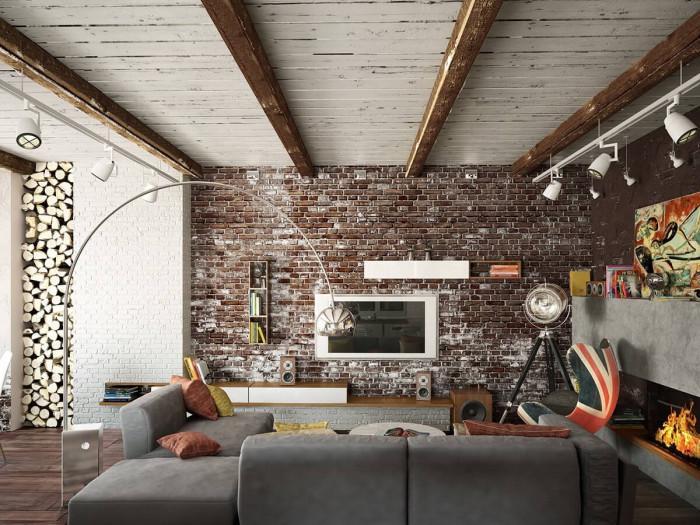Тухлена стена в рустик стил