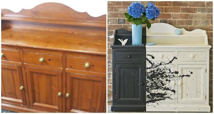 Разлейте цветна боя по старите мебели