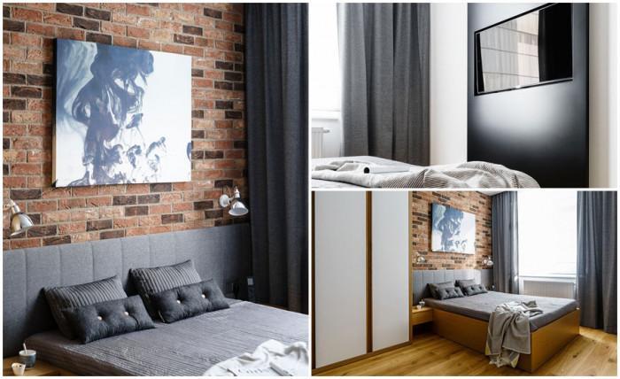 Дизайнът на спалнята включва най-интересните елементи от дневната
