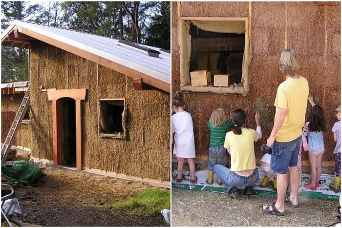 Изграждането на къща от сламени бали е групово занимание