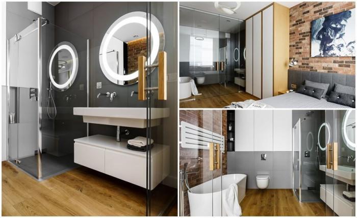Стъклена преграда между банята и спалнята - защо не?