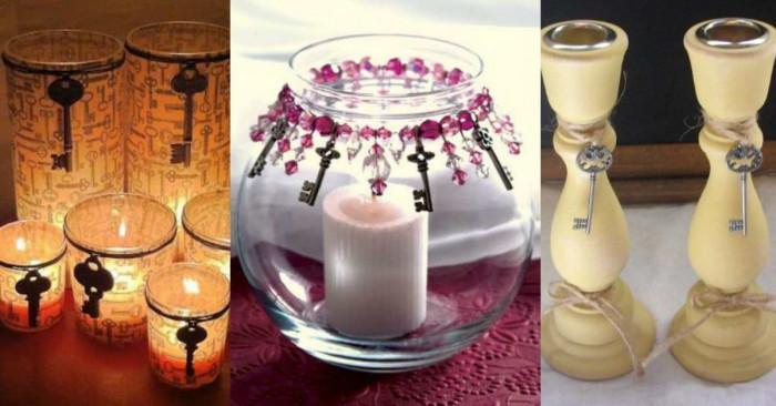 Украсете свещниците у дома с антични ключове