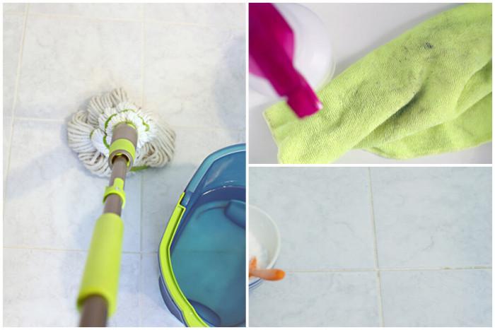 Почистете плочките в банята с мека кърпа, вода и оцет