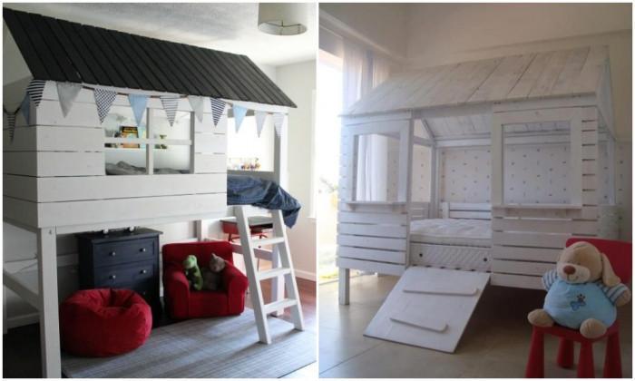 Детска дървена къщичка-легло