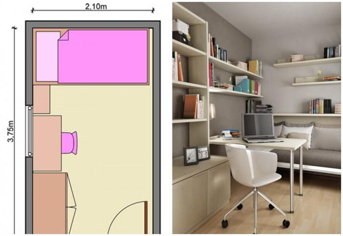 Подредете мебелите само от едната страна на помещението