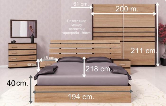 Основни размери на мебелите при избор на голямо легло