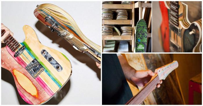 Уникални китари от стари дъски за скейтборд