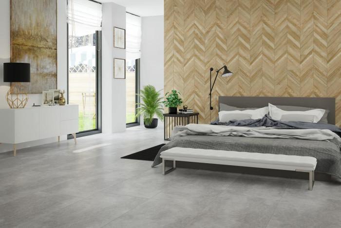 Модернистична спалня с  индустриален дизайн   - комбинация от цимент и дърво