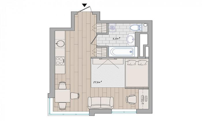 Малък и функционален едностаен апартамент