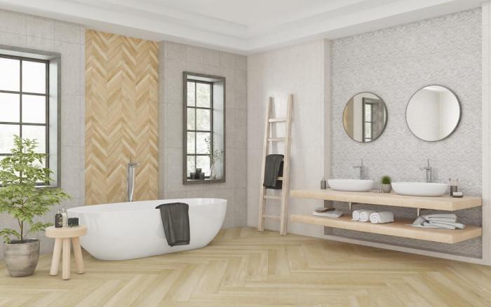 Вдъхновяваща баня с естествени материали - камък и дърво