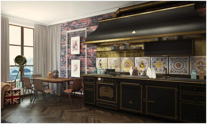 Класическа кухня в комбинация със съвременна трапезария