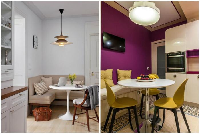 Обединете кухня и трапезария чрез поставянето на ъглов диван