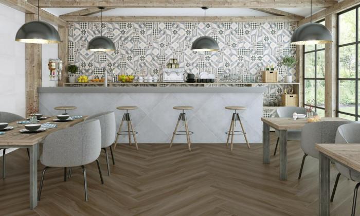 Дърво, цимент и геометрични декори в кухнята