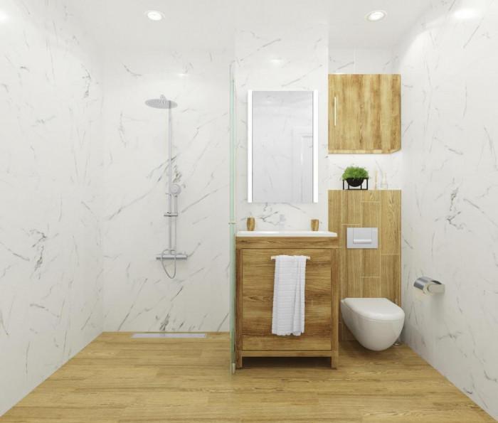 Елегантна баня, комбинация от мрамор и дърво