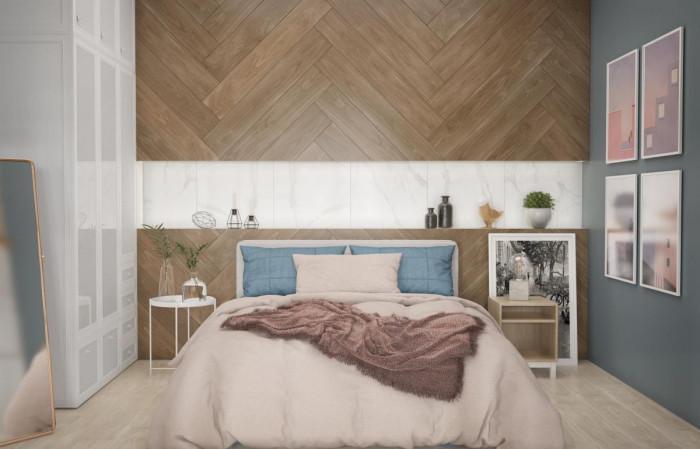Уютът среща лукса в спалнята с комбинация от мрамор и дърво