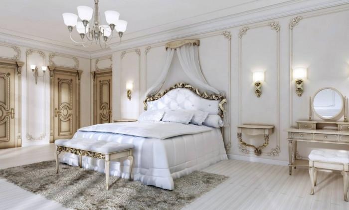 Класически стил в бялата спалня