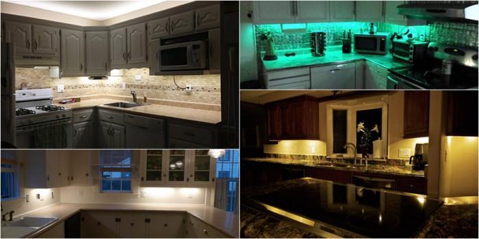 Идеи за блестяща и комфортна кухня с лампи под шкафовете