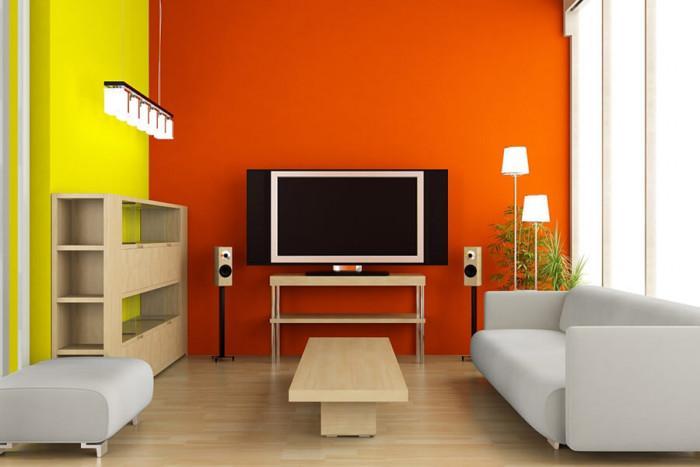 Жълто и оранжево по стените за по-слънчево настроение