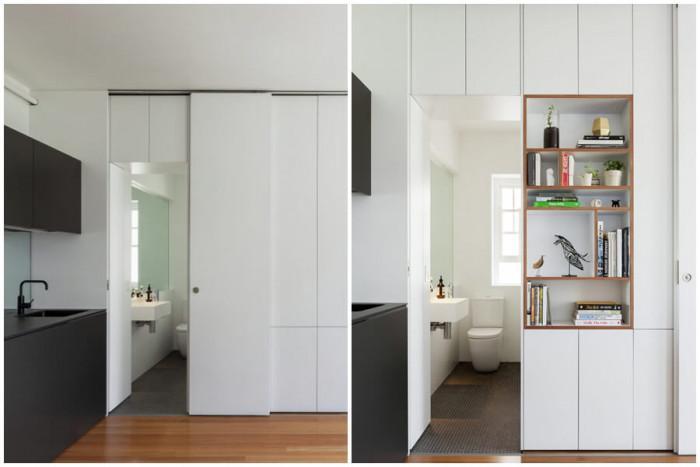 Банята е приютена зад друга скрита врата в стенния модул
