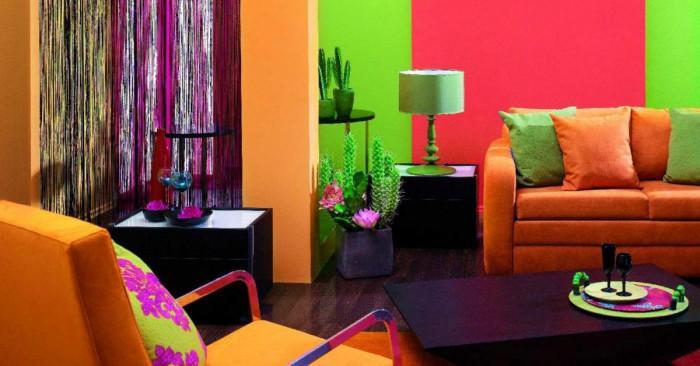 Неправилно разполагане и съчетаване на много ярки цветове