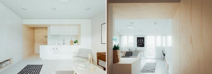 Кухня в студио от 20 квадрата