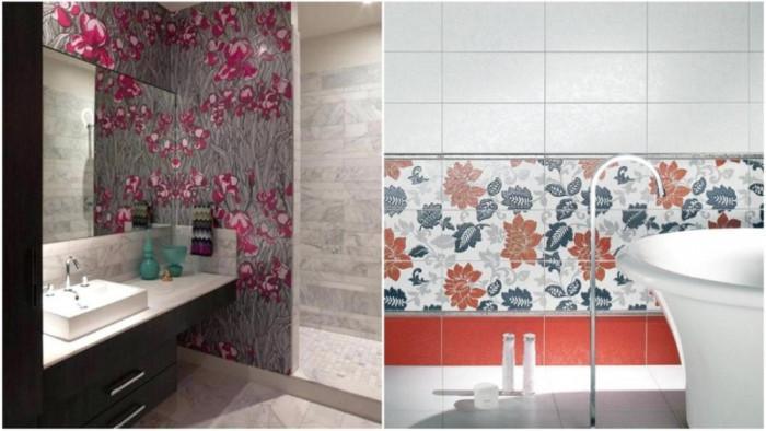 Винаги нежна пролет с флорални плочки в банята